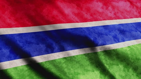 Gambia 3D flag from African continent