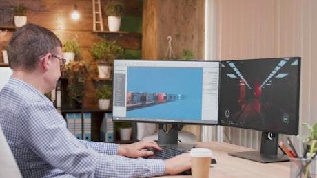 Gaming designer works in 3d computer software