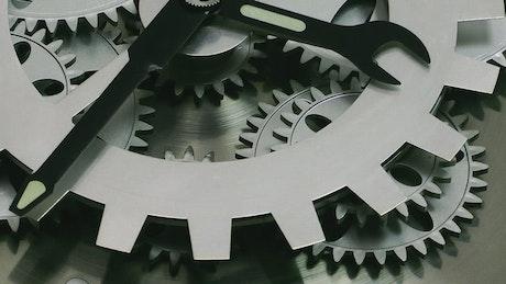 Gears of a steel watch working