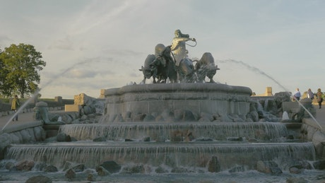 Gefion Fountain and statues