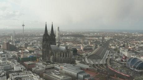 German city overlooking the skyline, aerial shot