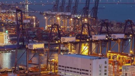 Giant cranes working at Hong Kong trading port