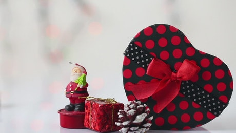 Gifts and a Santa figure