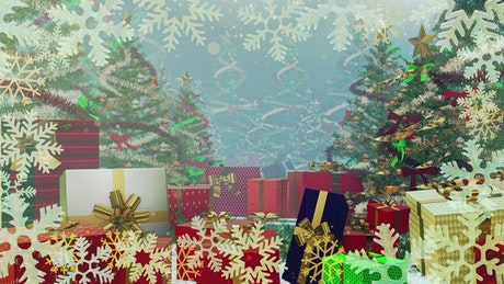 Gifts, Christmas trees and snowflakes