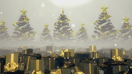 Gifts in golden boxes and Christmas trees, Render