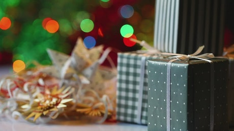 Gifts near a Christmas tree