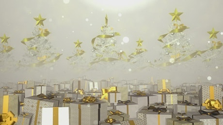 Gifts with golden bows in a Christmas atmosphere