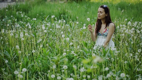 Girl blowing a dandelion in a crowded meadow