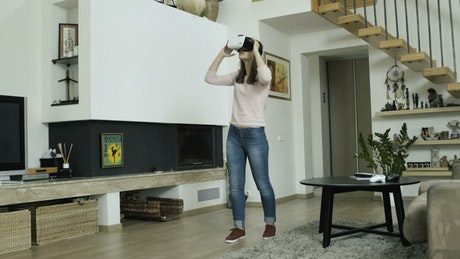 Girl frightened of virtual reality