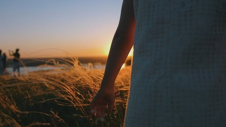 Girl in a dress caressing the grass at sunset