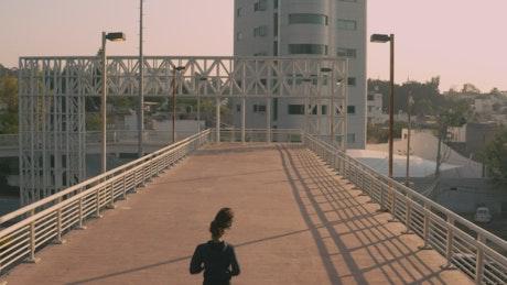 Girl jogging outdoors