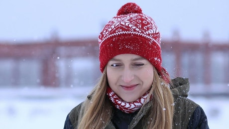 Girl on a snowy winter afternoon, portrait