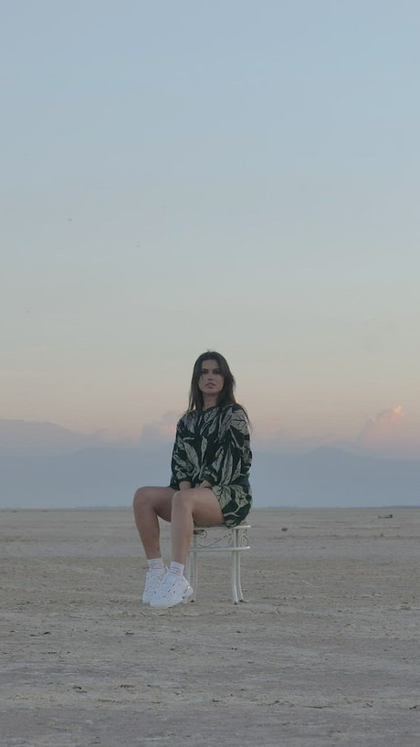 Girl posing for the camera in the middle of nowhere
