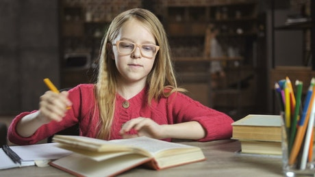 Girl reading a book while writing