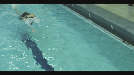 Girl skillfully swimming in an olympic pool