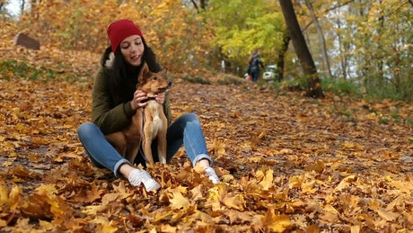 Girl stroking her dog in nature in autumn