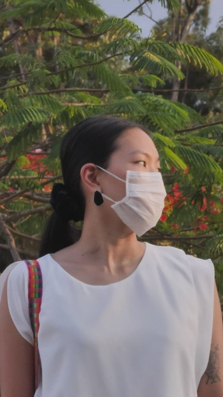 Girl with face mask, portrait