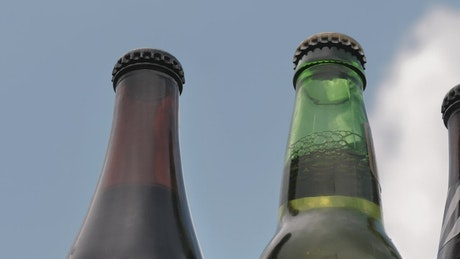Glass bottles of beer on a sunny day