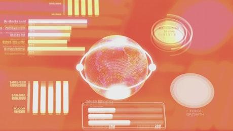 Globe spins on orange hud style graph display