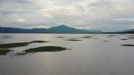 Going through a huge lake, aerial show