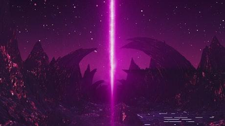 Going violet light on a strange planet in 3D