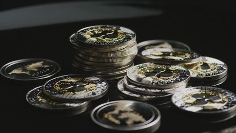 Gold and silver stack of coins