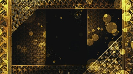 Gold decorations and glitter particles tunnel, 3D