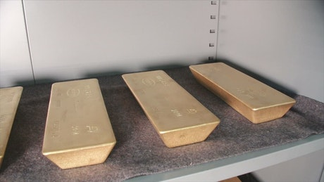 Gold ingots on a shelf