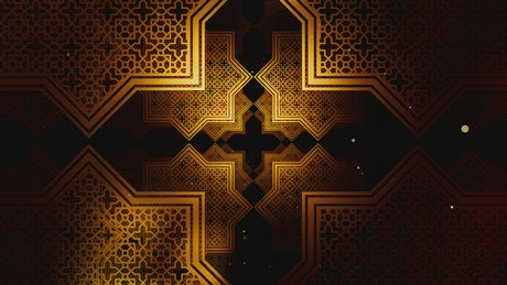 Gold Ramadan Kareem In Islamic pattern spinning