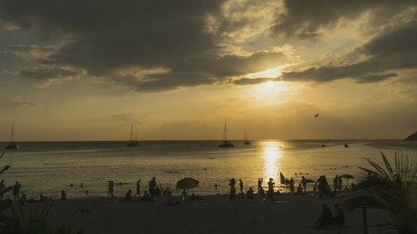 Gold sunset landscape at phuket beach