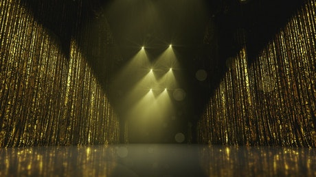 Golden award stage curtains, loop video