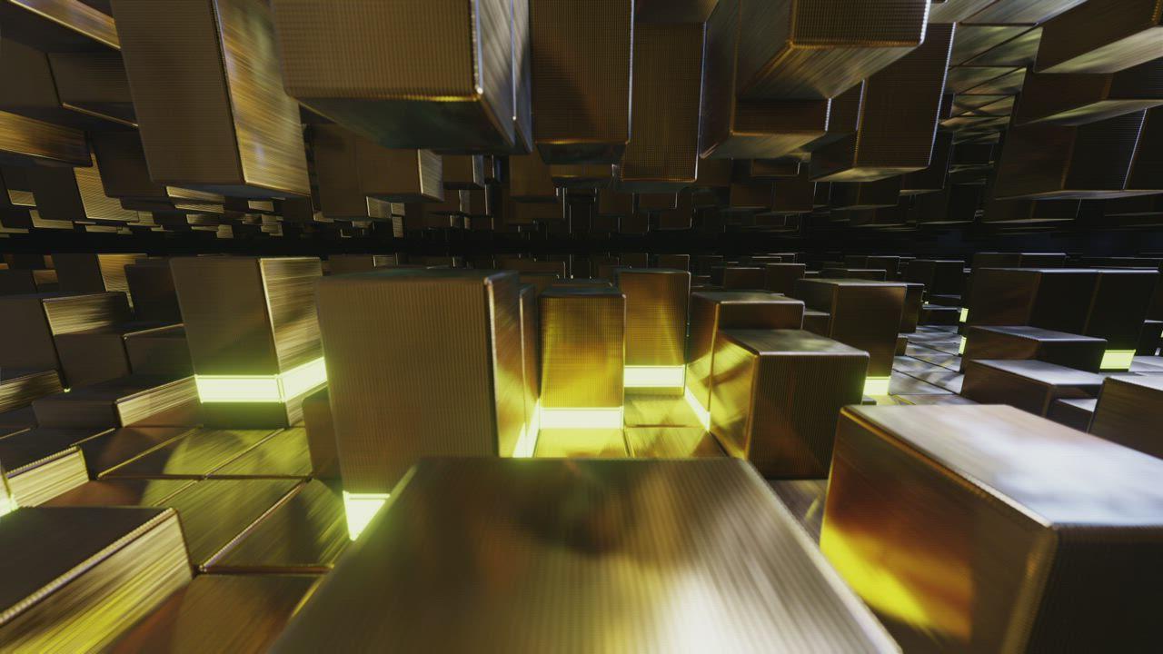 Golden Blocks Concept 3d Render - Free Stock Video