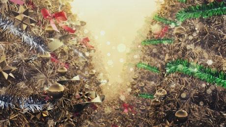 Golden christmas trees, 3D render