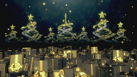 Golden christmas trees and gifts, Animation