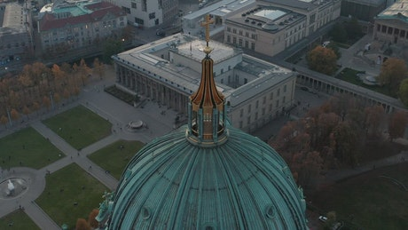 Golden cross on the dome of a German cathedral