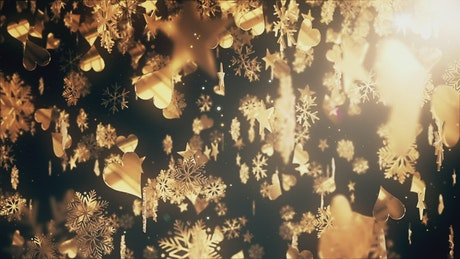 Golden figures with christmas concept falling