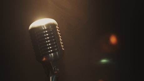 Golden glow on a microphone