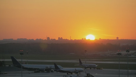 Golden skyline and airport