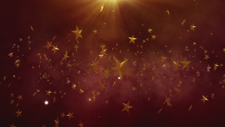 Golden stars floating in space, awards concept