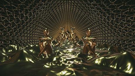 Golden statues of female figures, 3D loop video