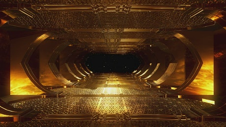 Golden tunnel with religious concept