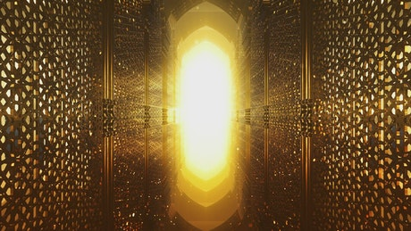 Golden walls and a light at the end, Ramadan concept