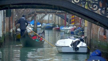 Gondola sailing in Venice