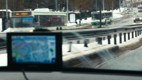 GPS stuck on a car dashboard