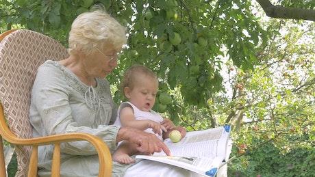 Grandma reads book to baby under apple tree
