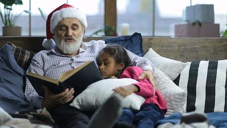 Grandpa reading a book
