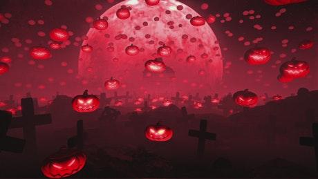 Graveyard full of floating pumpkins and a big moon