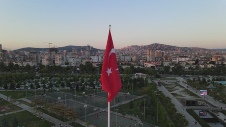 Great city view around a Turkish flag