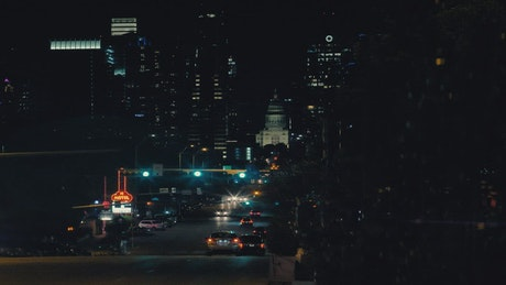 Great strip of a big city at night