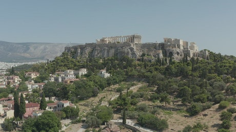 Greco-Roman temple on a mound in Athens